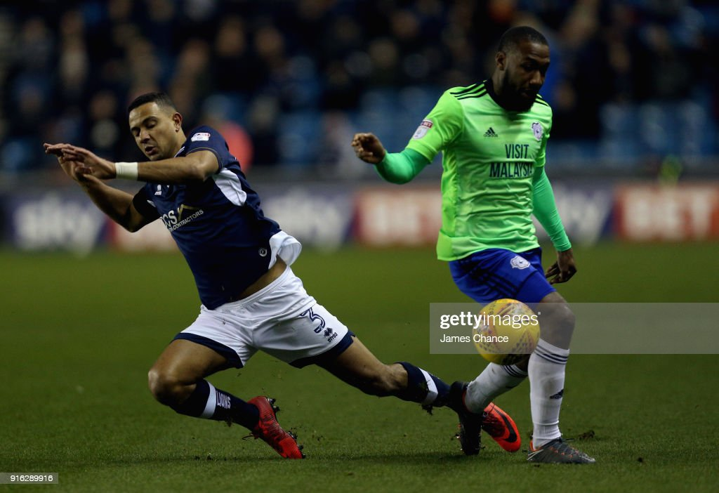 Junior Hoilett of Cardiff City fouls James Meredith of Millwall during the Sky Bet Championship match between Millwall and Cardiff Cityat The Den on February 9, 2018 in London, England.