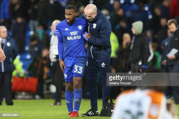 Junior Hoilett of Cardiff City is helped off by a physio after the final whistle of the Sky Bet Championship match between Cardiff City and Hull City...