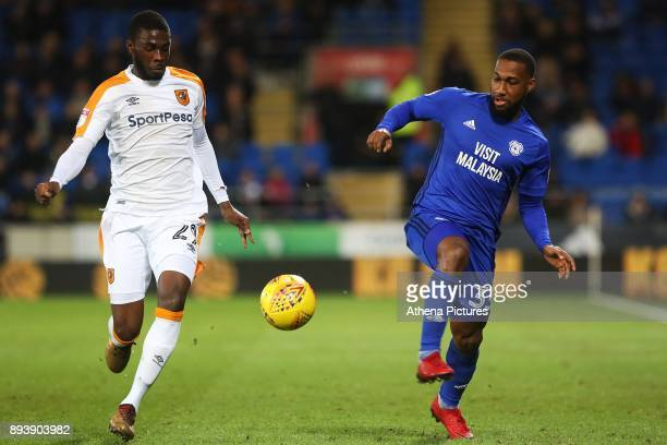 Junior Hoilett of Cardiff City is marked by Fikayo Tomori of Hull City during the Sky Bet Championship match between Cardiff City and Hull City at...