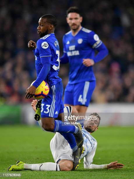 Junior Hoilett of Cardiff City is tackled by Morgan Schneiderlin of Everton during the Premier League match between Cardiff City and Everton FC at...