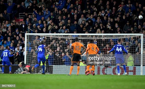 Junior Hoilett of Cardiff City misses a penalty kick during of the Sky Bet Championship match between Cardiff City and Wolverhampton Wanderers at...