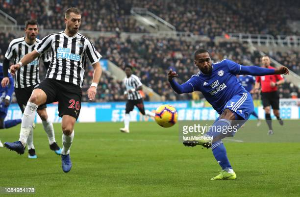 Junior Hoilett of Cardiff City takes a shot during the Premier League match between Newcastle United and Cardiff City at St James Park on January 19...