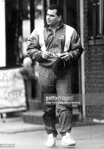 Junior John Gotti makes a quick getaway from the Bergin Hunt and Fish Club after a barber trimmed his hair