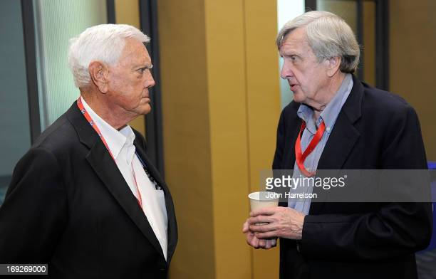 Junior Johnson talks with Ken Squire during the Hall of Fame Selection at NASCAR Hall of Fame on May 22 2013 in Charlotte North Carolina