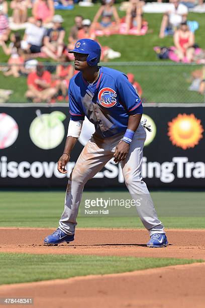 Junior Lake of the Chicago Cubs takes a lead from second base against the Los Angeles Angels of Anaheim during a spring training game at Tempe Diablo...