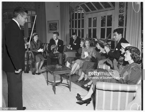 Junior League Rooms of Beverly Hills Hotel, 18 October 1951. David Frisina;Mrs Sheldon Paige Fay;Sinclair Lott;John Lott;John Barnett;Mrs Myron C...