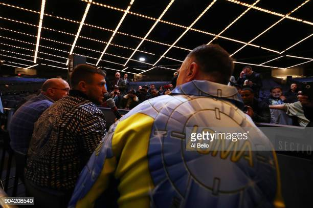 Junior Lightweight Champion Vasiliy Lomachenko speaks to the media after his victory against Guillermo Rigondeaux at Madison Square Garden at Madison...