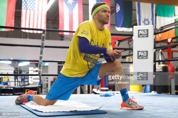 Junior lightweight world titleholder Vasyl Lomachenko works out at the Boxing Laboratory on July 25 2017 in Oxnard California Lomachenko will defend...