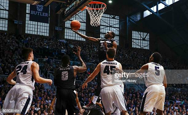 Junior Lomomba of the Providence Friars shoots the ball against the Butler Bulldogs at Hinkle Fieldhouse on December 31 2015 in Indianapolis Indiana