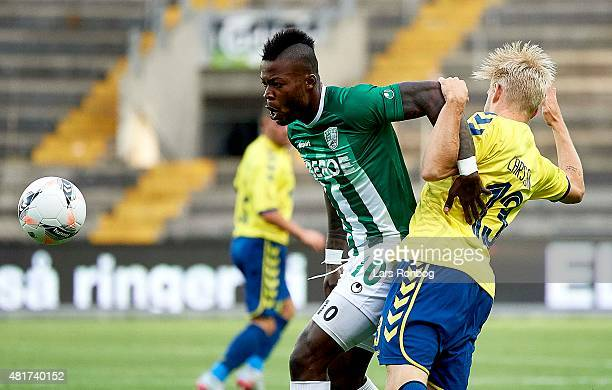Junior Mapuku of PFC Beroe Stara Zagora and Johan Larsson of Brondby IF compete for the ball during the UEFA Europa League Qualification match...