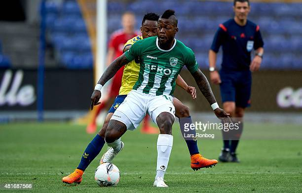 Junior Mapuku of PFC Beroe Stara Zagora controls the ball during the UEFA Europa League Qualification match between Brondby IF and PFC Beroe Stara...