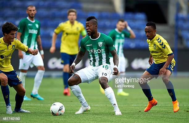 Junior Mapuku of PFC Beroe Stara Zagora in action during the UEFA Europa League Qualification match between Brondby IF and PFC Beroe Stara Zagora at...
