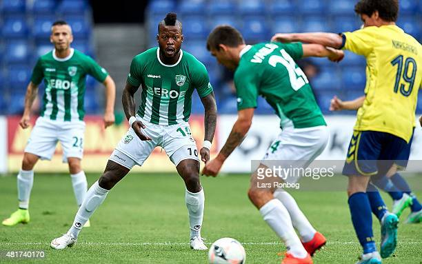 Junior Mapuku of PFC Beroe Stara Zagora looks on during the UEFA Europa League Qualification match between Brondby IF and PFC Beroe Stara Zagora at...