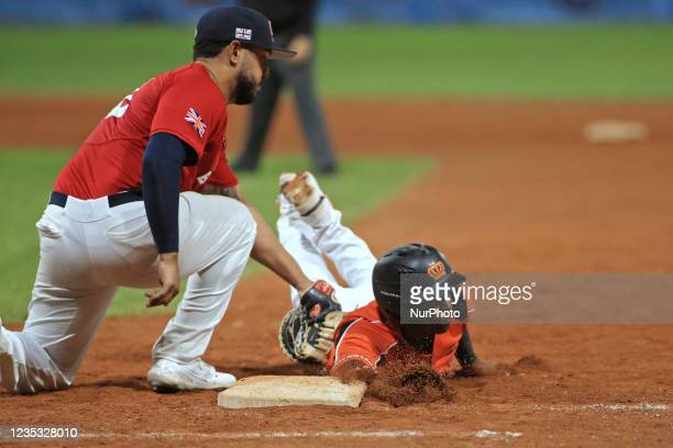 Junior Martina and Alx Crosby at the first base during the Baseball match Baseball European Championship 2021 - Quarter finals - Netherlands vs Great...
