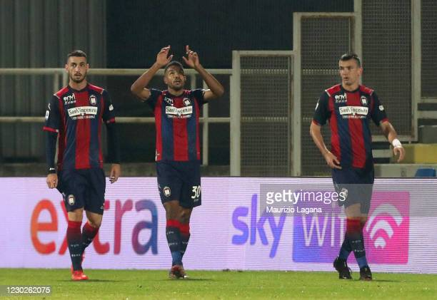 Junior Messias Crotone celebrates after scoring his team's second goal during the Serie A match between FC Crotone and Parma Calcio at Stadio...