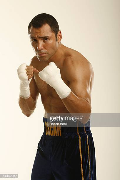Junior Middleweight Boxing Portrait of WBC champion Oscar De La Hoya during training for Floyd Mayweather Jr fight at Wilfredo Gomez Gym Guaynabo...