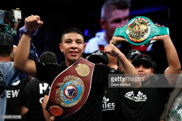 WBO junior middleweight champion Jaime Munguia of Mexico poses with his belt after his unanimous decision victory over Liam Smith of England on July...