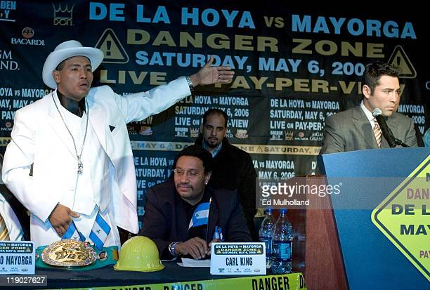 WBC Junior Middleweight Champion Ricardo El Matador Mayorga left and challenger The Golden Boy Oscar De La Hoya at a press conference at ESPN Zone in...