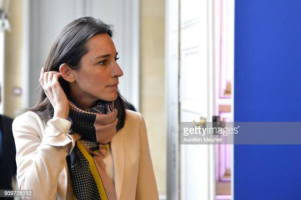 Junior Minister Brune Poirson arrives for a press conference on March 29 2018 in Paris France Nicolas Hulot French Minister of Ecological and...