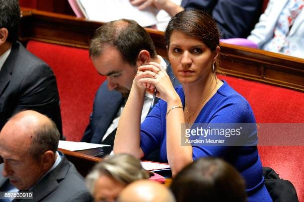 Junior Minister in charge of Equality between men and women Marlene Schiappa reacts as ministers answer deputies during the weekly questions to the...