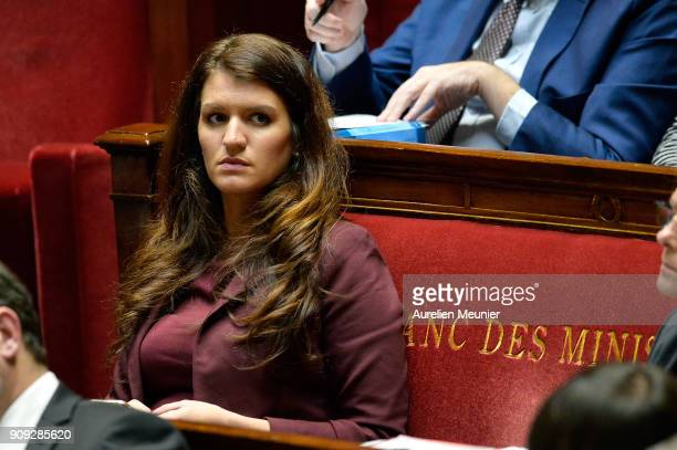 Junior Minister in charge of Equality between men and women Marlene Schiappa reacts as Ministers answer deputies' questions during a session of...