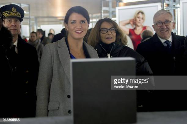 "Junior Minister in charge of Equality between men and women Marlene Schiappa and Bettina Rheims attend the ""Detenus"" Bettina Rheims exhibition..."