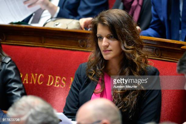 Junior Minister in charge of Equality between men and women Marlene Schiappa reacts as Ministers answer deputies questions during the weekly session...