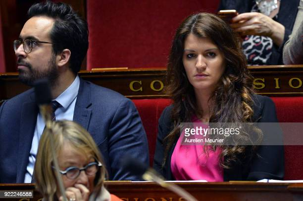 Junior Minister in charge of Equality between men and women Marlene Schiappa reacts as Ministers answer deputies questions during a session of...