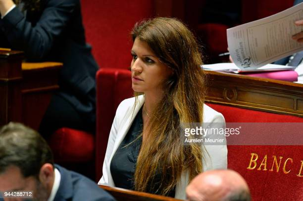 Junior Minister in charge of Equality between men and women Marlene Schiappa reacts as Ministers answer deputies during the weekly session of...