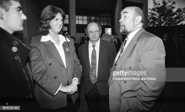 Junior Minister Joan Burton and her husband Pat Carroll at the Removal of Brian Lenihan's remains to Our Lady's Church, Castleknock, Dublin, circa...