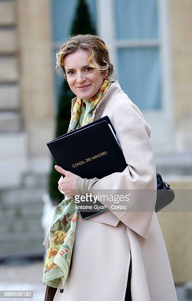 Junior Minister of Ecology Nathalie KosciuskoMorizet leaves the Elysee Palace following French President Nicolas Sarkozy's New Year's welcome to the...