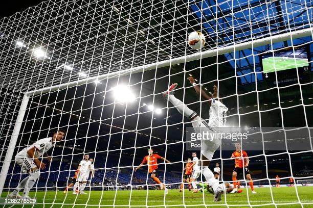 Junior Moraes of Shakhtar Donetsk scores his sides first goal during the UEFA Europa League Quarter Final between Shakhtar Donetsk and FC Basel at...