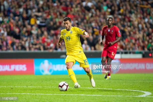 LUZ STADIUM LISBON PORTUGAL Junior Moraes of Ukraine in action during the Qualifiers Group B to Euro 2020 football match between Portugal vs Ukraine...