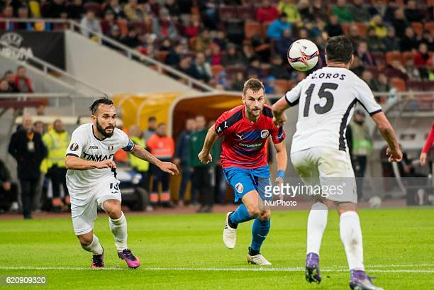 Junior Morais of FC Astra Giurgiu and Radim Reznik of FC Viktoria Plzen during the UEFA Europa League 20162017 Group E game between FC Astra Giurgiu...