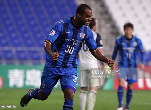 Junior Negrao of Ulsan Hyndai celebrates scoring his side's fifth goal during the AFC Champions League Group F match between Ulsan Hyundai and...