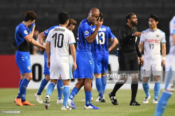 Junior Negrao of Ulsan Hyundai and Ryota Oshima of Kawasaki Frontale exchanges words during the AFC Champions League Group H match Kawasaki Frontale...