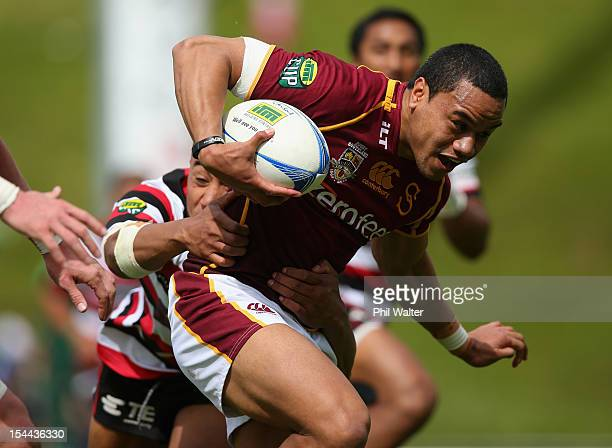 Junior Ngaluafe of Southland is tackled during the ITM Cup Championship Semifinal match between Counties Manukau and Southland at ECOLight Stadium on...