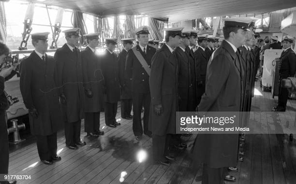 Junior Officer Cadets aboard the Italian Sail Training Ship Amerigo Vespucci undergo an inspection before being allowed to leave the ship on a...