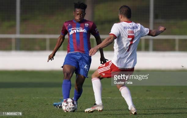 Junior Oto' o Zue of CD Cova da Piedade in action during the Liga Pro match between CD Cova da Piedade and UD Vilafranquense at Estadio Municipal...