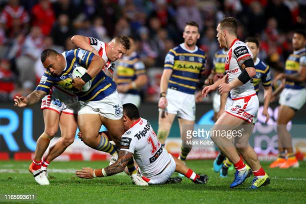 Junior Paulo of the Eels charges forward during the round 20 NRL match between the St George Illawarra Dragons and the Parramatta Eels at WIN Jubilee...