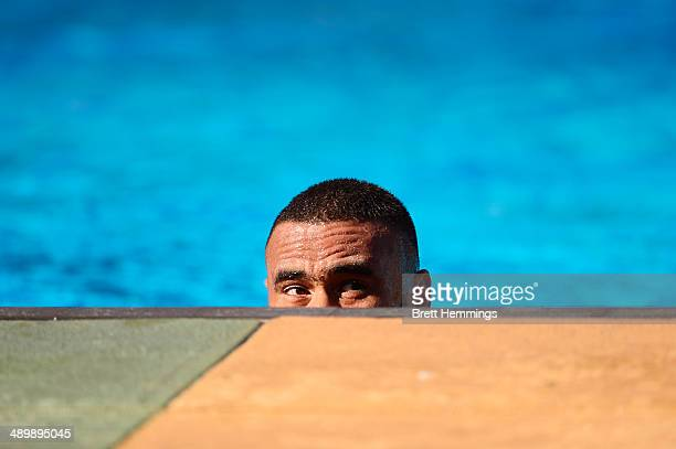 Junior Paulo of the Eels looks on during a Parramatta Eels NRL recovery session at Pirtek Stadium on May 13 2014 in Sydney Australia