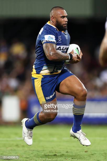 Junior Paulo of the Eels runs the ball during the round seven NRL match between the Parramatta Eels and the Brisbane Broncos at TIO Stadium, on April...