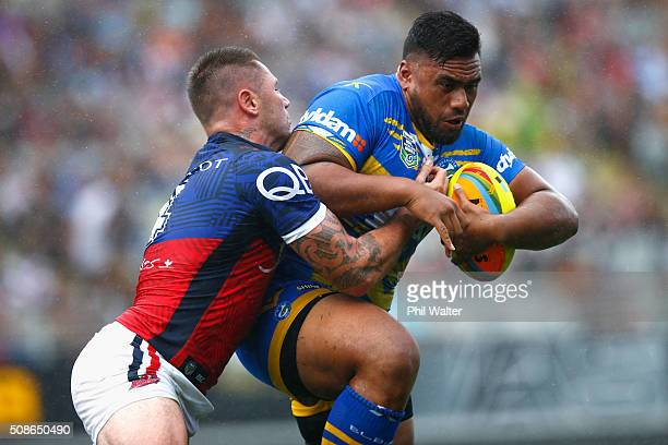 Junior Paulo of the Parramatta Eels is tackled during the 2016 Auckland Nines match between the Sydney Roosters and the Parramatta Eels at Eden Park...