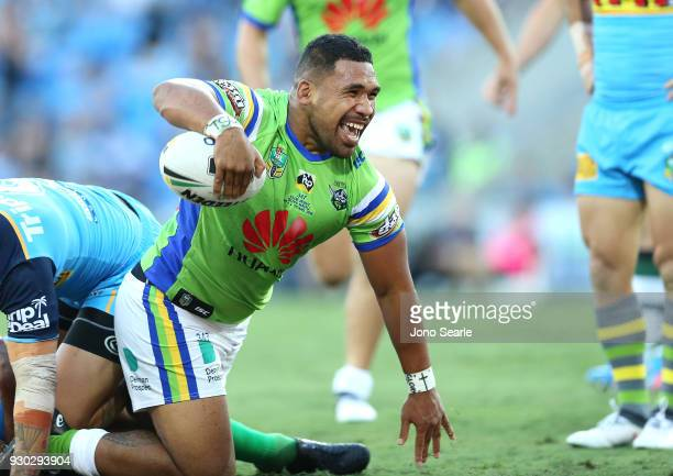 Junior Paulo of the Raiders celebrates his try during the round one NRL match between the Gold Coast Titans and the Canberra Raiders at Cbus Super...
