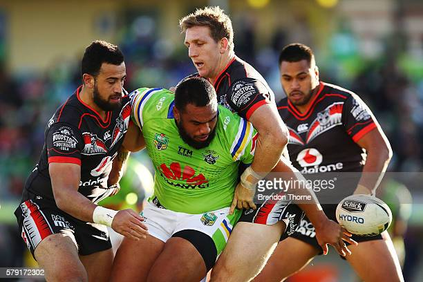 Junior Paulo of the Raiders looks to offload the ball during the round 20 NRL match between the Canberra Raiders and the New Zealand Warriors at GIO...