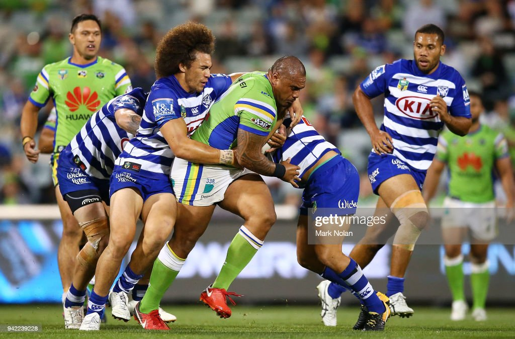 Junior Paulo of the Raiders runs the ball during the round five NRL match between the Canberra Raiders and the Canterbury Bulldogs at GIO Stadium on April 5, 2018 in Canberra, Australia.