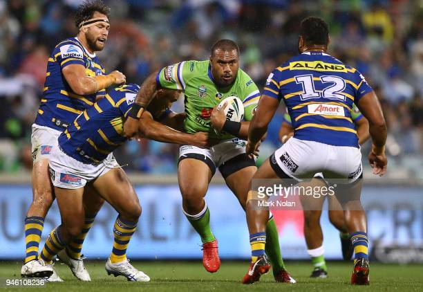 Junior Paulo of the Raiders runs the ball during the round six NRL match between the Canberra Raiders and the Parramatta Eels at GIO Stadium on April...