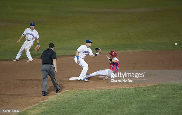 Junior Paumier of the Cuban National Team steals second base against the Rockland boulders at Palisades Credit Union Park on June 24, 2016 in Pomona,...