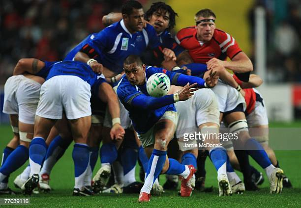 Junior Polu of Samoa in action during match thirty two of the Rugby World Cup 2007 between Samoa and USA at the Stade Geoffroy Guichard on September...