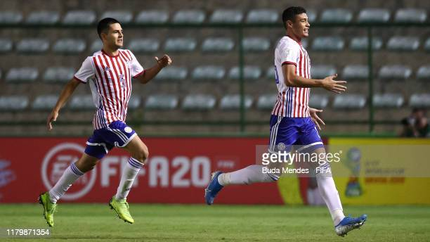 Junior Quiñonez of Paraguay celebrates a scored goal during the FIFA U17 Men's World Cup Brazil 2019 group F match between Italy and Paraguay at...